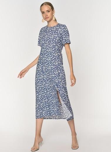 Loves You Çıtır Desen Yırtmaçlı Midi Boy Elbise Lacivert